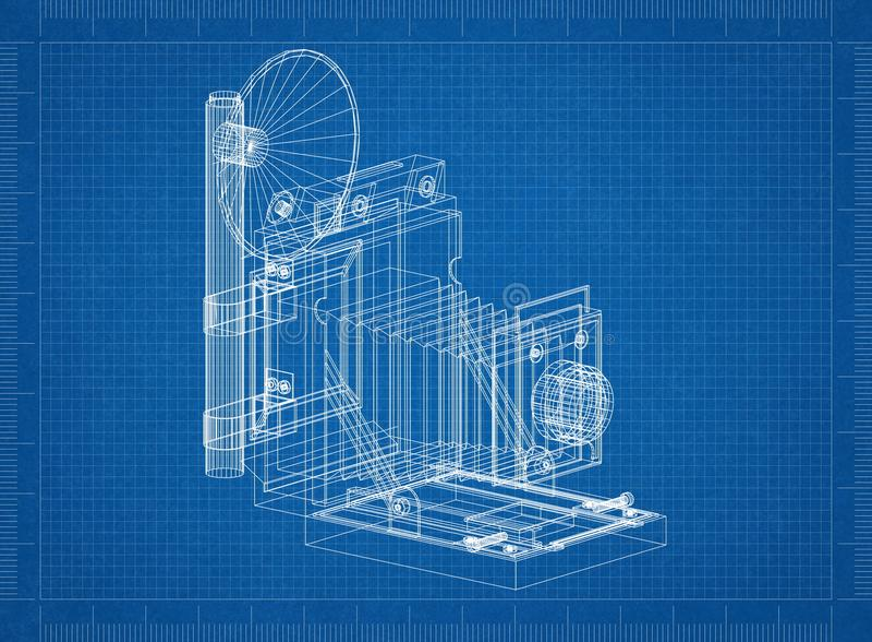 Stary kamera architekta projekt ilustracja wektor