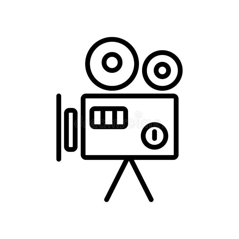 Stary kamera wideo ikony wektor odizolowywający na białym tle, Stary V ilustracja wektor