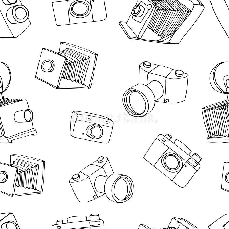 Stary kamera wzór royalty ilustracja