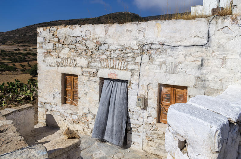 Stary kamienia dom w Iraklia wyspie, Cyclades, Grecja zdjęcie stock