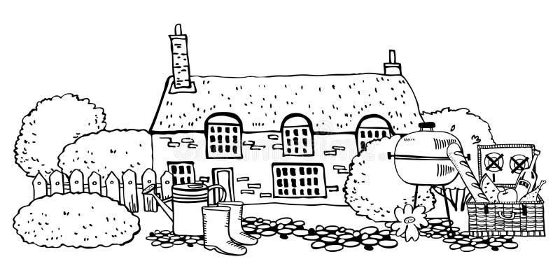 Stary kamienny Europa countryhouse z ogrodnictw narzędziami, pykniczny koszykowy anf grill Wektorowa r?ka rysuj?ca nakre?lenie il royalty ilustracja