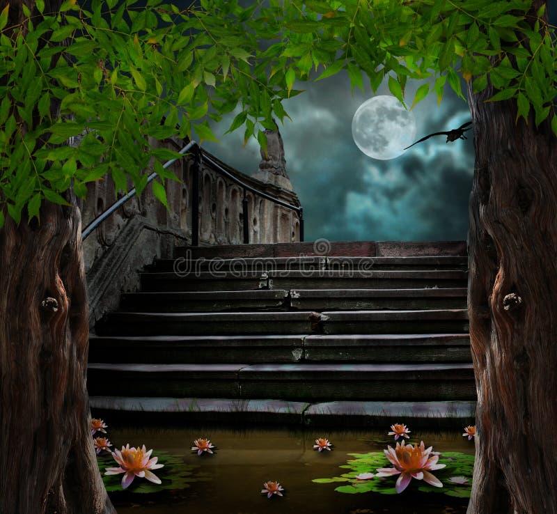 Stary kamienny schody w świętowaniu Halloween ilustracji