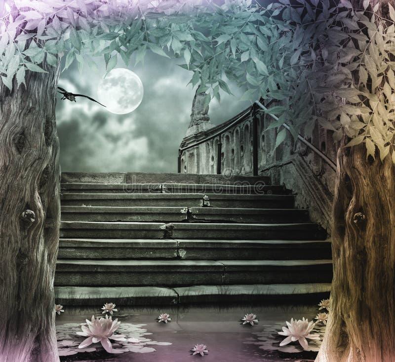 Stary kamienny schody w świętowaniu Halloween na tle royalty ilustracja