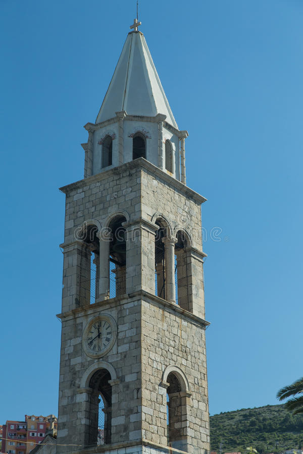 Stary Kamienny Zegarowy wierza w Chorwacja obrazy royalty free