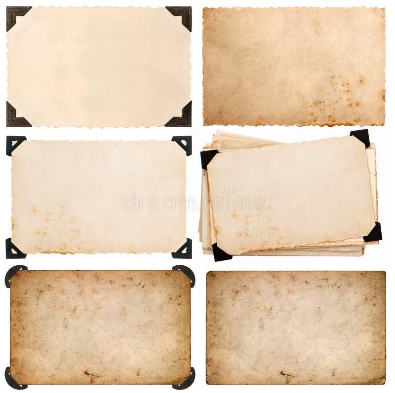 Stary karton z kątem, fotografii karta, starzał się papier odizolowywającego zdjęcia royalty free