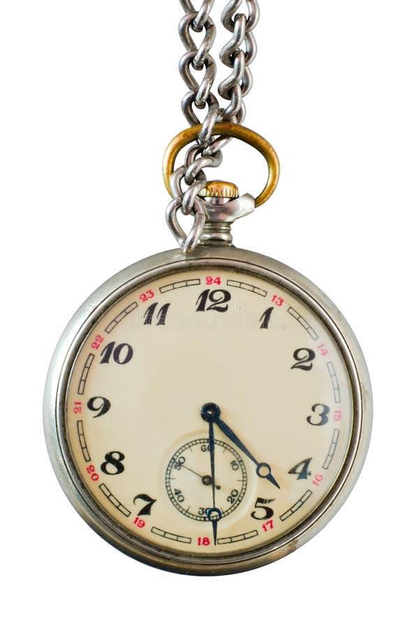 Stary kieszeniowy zegarek na łańcuchu fotografia stock