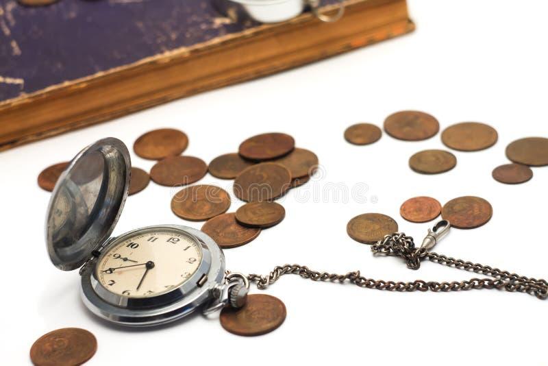 Stary kieszeniowy zegarek na łańcuchu obraz royalty free