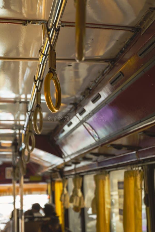 Stary klasyczny autobusowy szczegół wśrodku obrazy stock