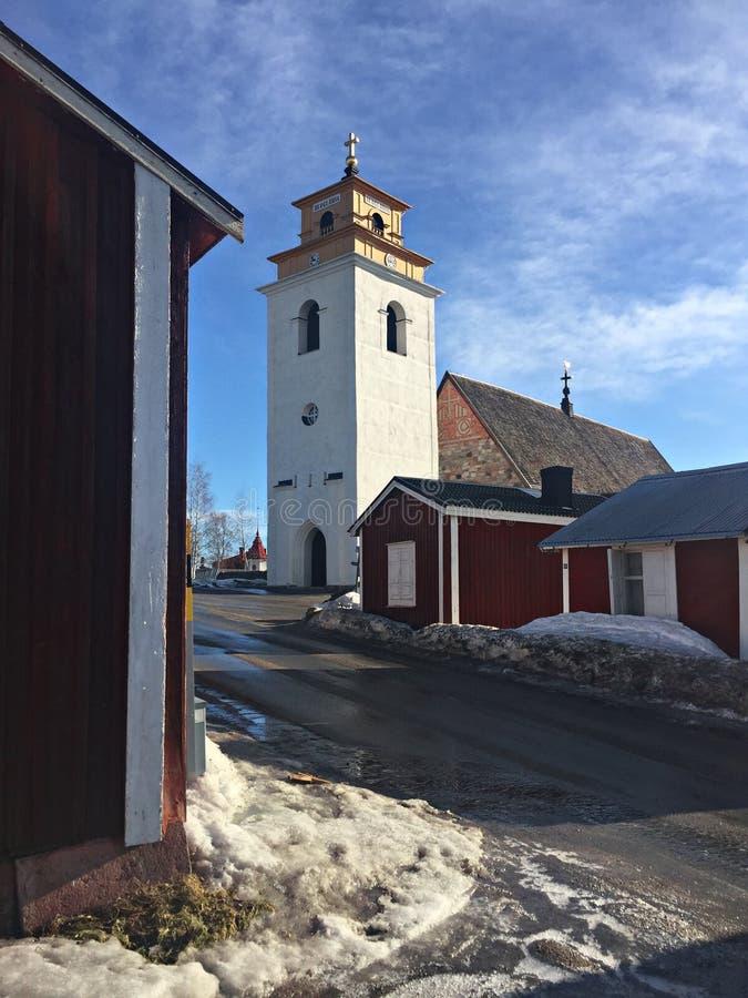 Stary kościół w Starym Grodzkim Gammelstad Szwecja obraz stock