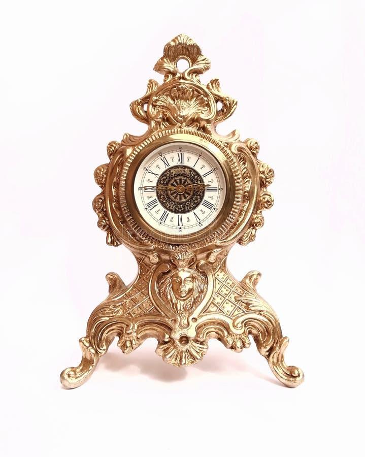 stary koloru żółtego zegar na białym tle zdjęcia stock