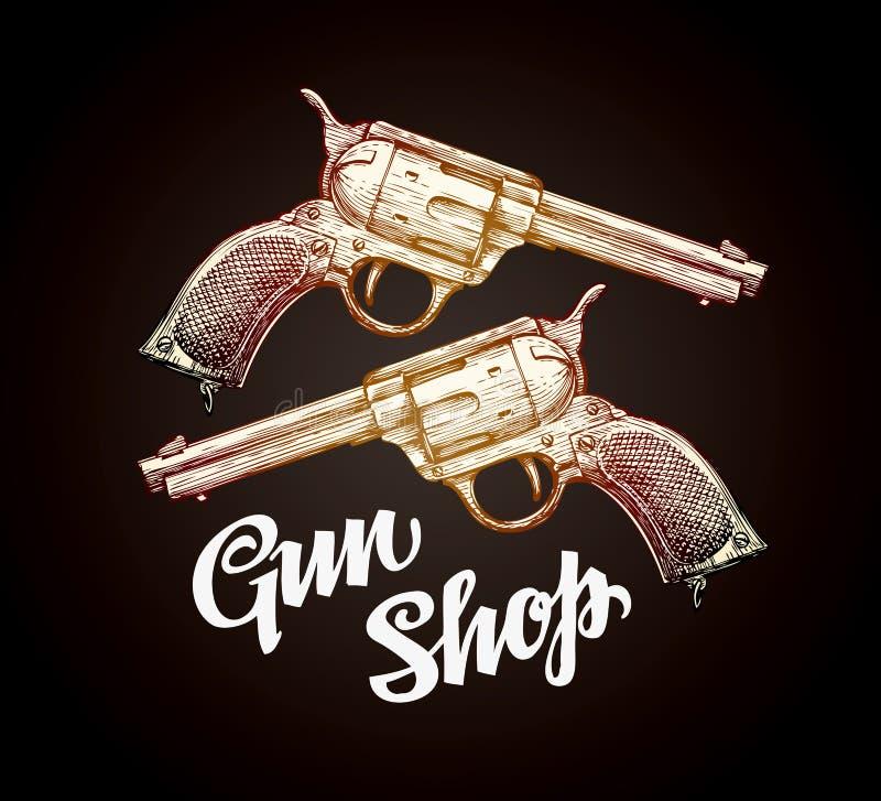 Stary kolt, pistolecik Kowboj armatnia wektorowa ilustracja royalty ilustracja