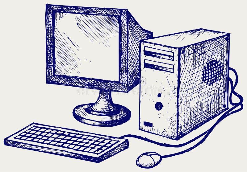 Stary komputer royalty ilustracja