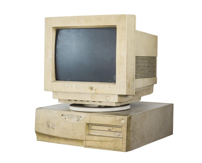 Stary komputer odizolowywający obraz stock