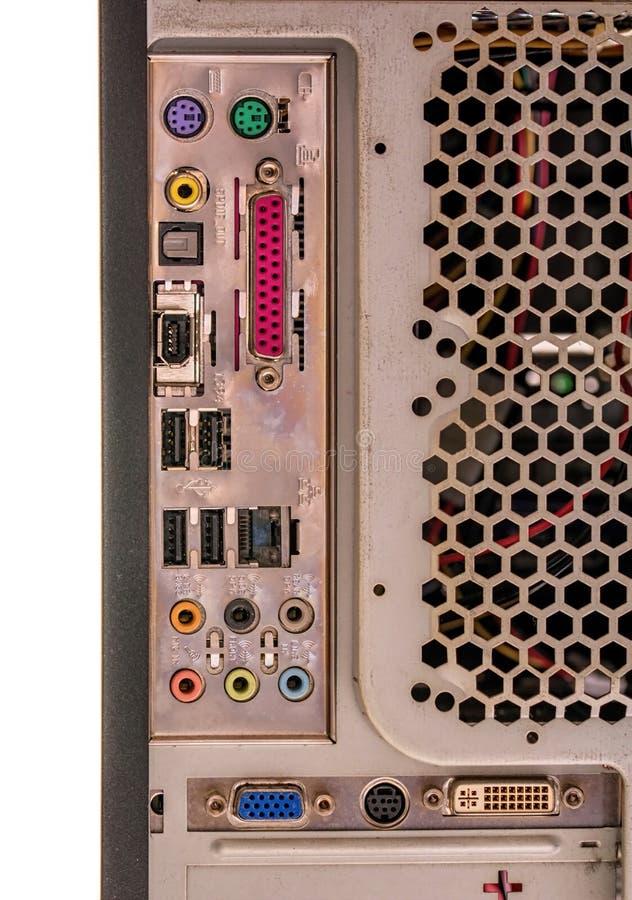 Stary komputerowy widok tylni plugins zdjęcia stock