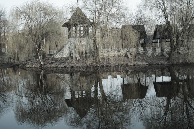 stary Kozacki forteca w Parkowym krajobrazowym fotografia skutku fotografia royalty free