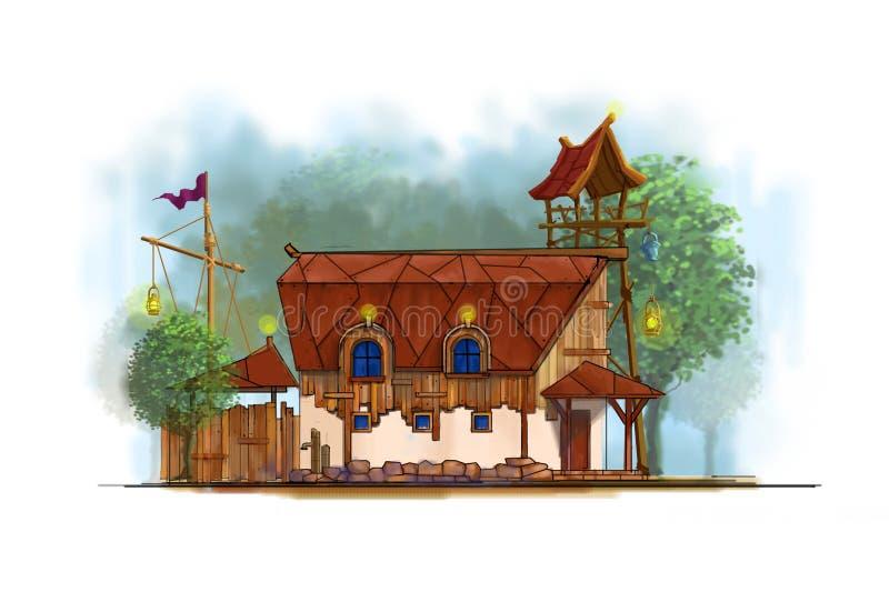 Stary kreskówka dom ilustracji