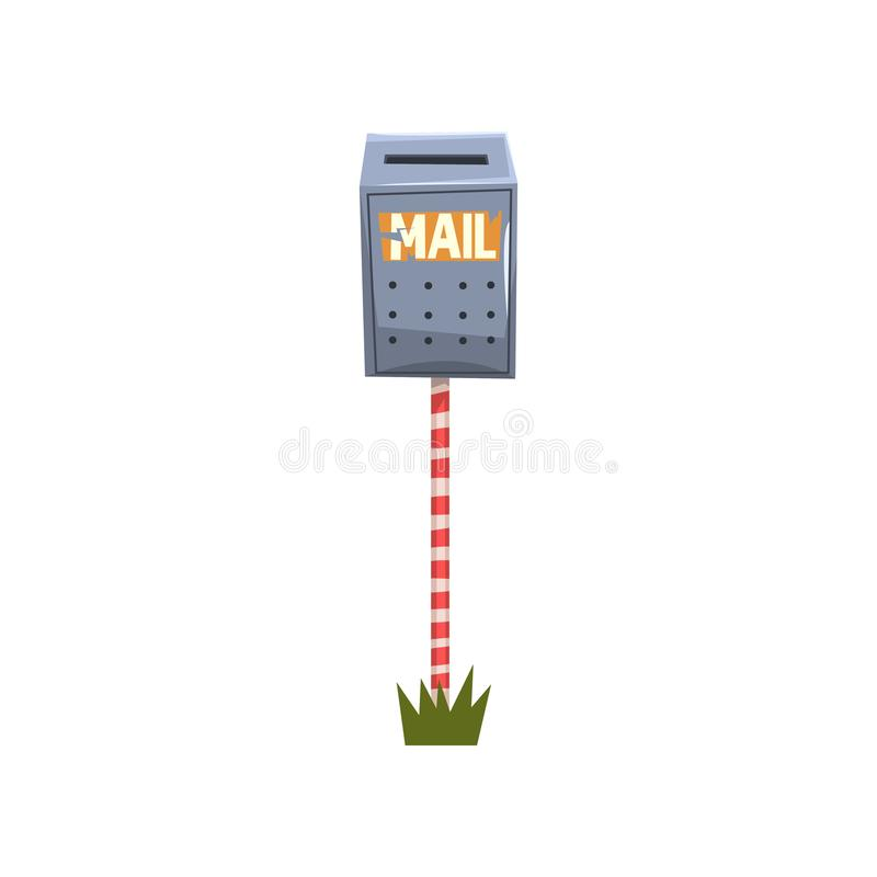Stary kruszcowy postbox obwieszenie na pasiastym słupie Kreskówki ilustracja błękitna skrzynka pocztowa na kawałku zielona trawa  royalty ilustracja