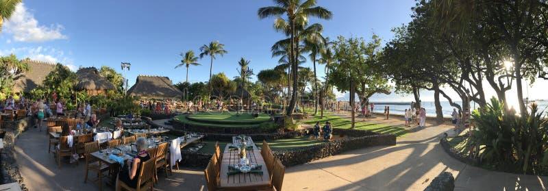 Stary Lahaina Luau miejsce wydarzenia Maui, Hawaje panorama obraz stock