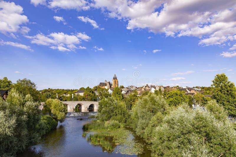 Stary lahn most, widok sławna kopuła Wetzlar i zdjęcia stock