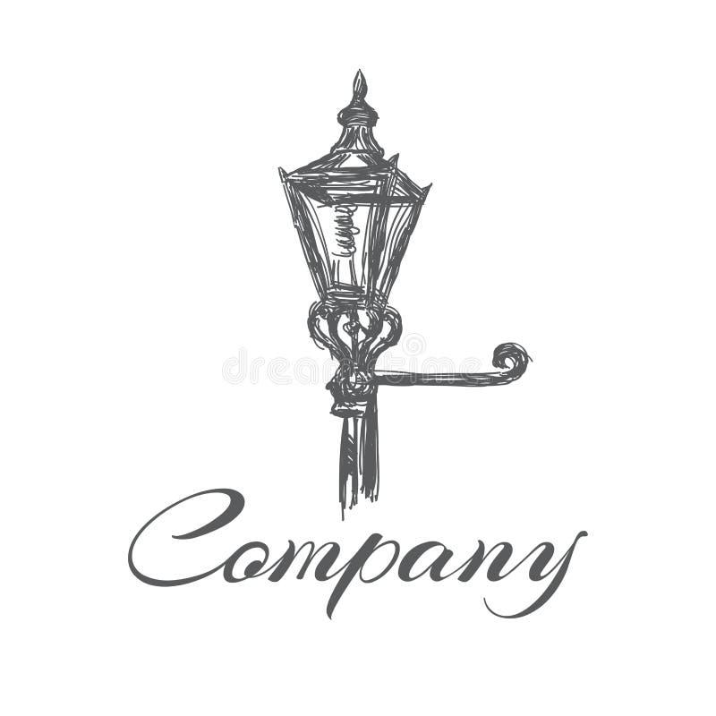 Stary latarnia uliczna logo również zwrócić corel ilustracji wektora ilustracji