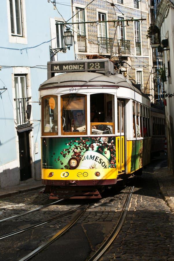 stary Lisbon tramwaj fotografia royalty free