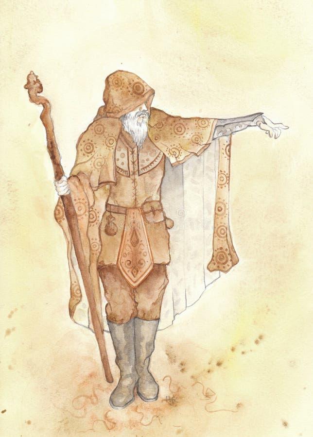 stary mężczyzna czarownik ilustracja wektor