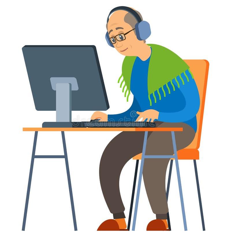 Stary mężczyzna Używa komputer, wektor, seniora i komputeru osobistego ilustracji