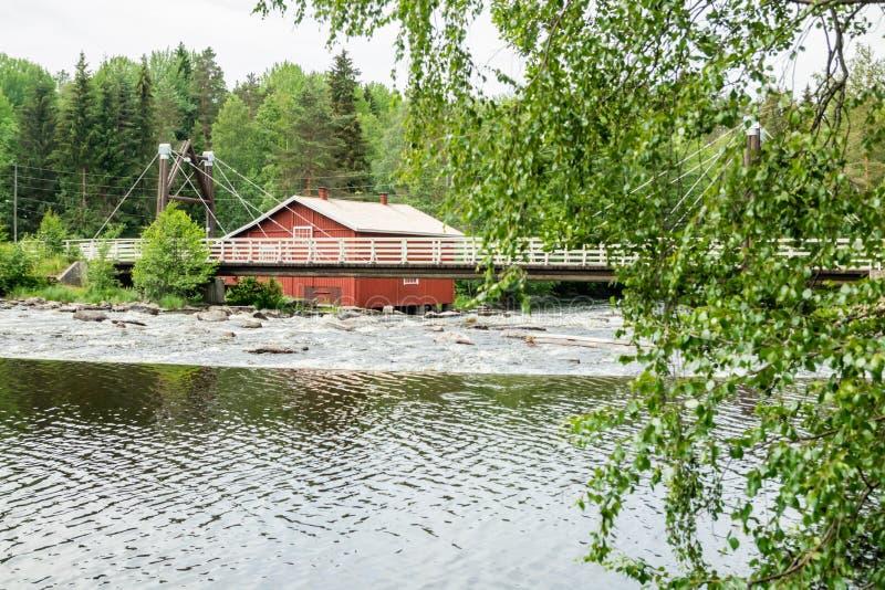 Stary młyn, tama i próg na rzecznym Jokelanjoki, Kouvola, Finlandia zdjęcie stock