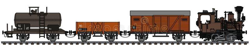 Stary mały zafrachtowanie kontrpary pociąg royalty ilustracja