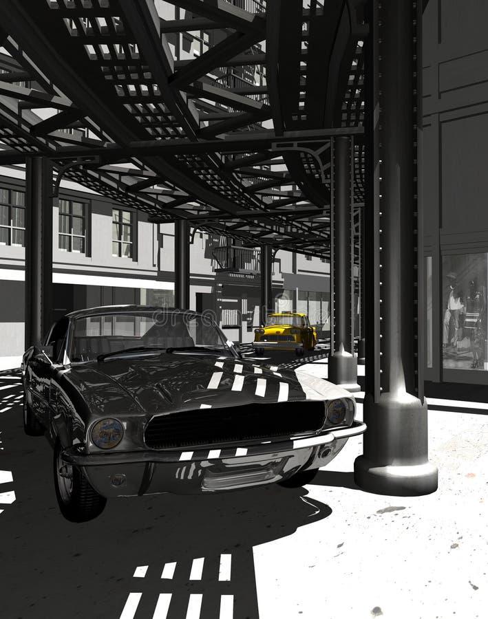 stary Manhattan mustang ilustracja wektor