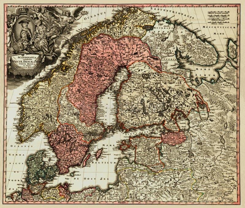 stary mapy scandinavian ilustracja wektor