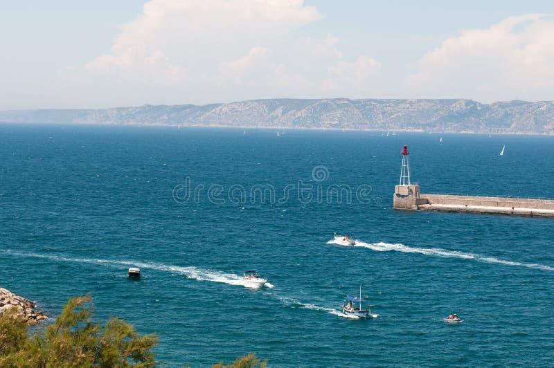 stary Marseille wejściowy port obraz stock