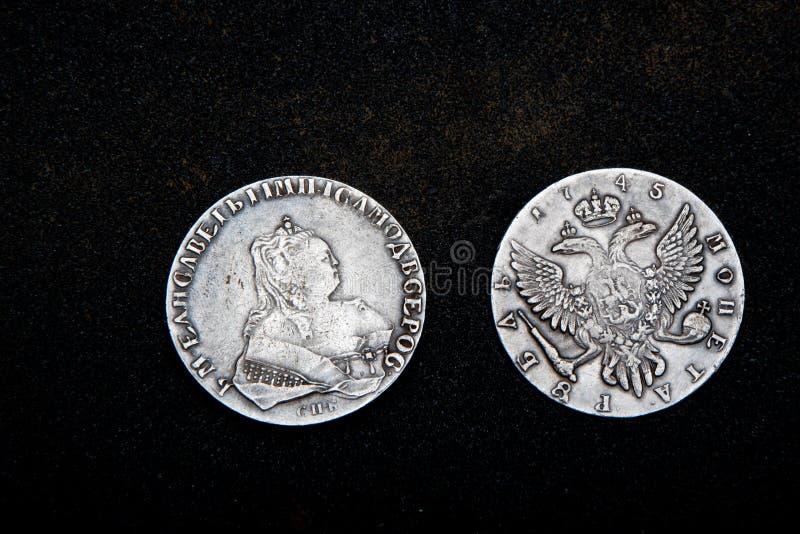 Stary Menniczy pieniądze rosjanina srebra złoto retro zdjęcia stock