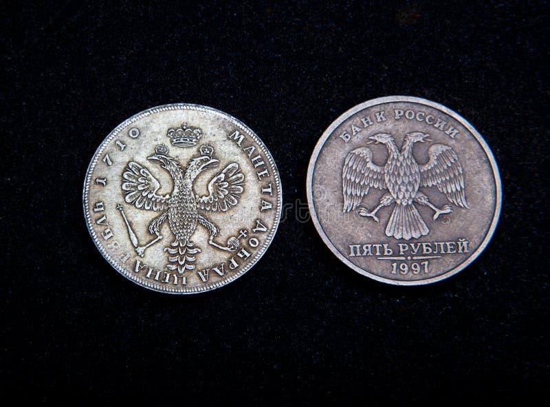 Stary Menniczy pieniądze rosjanina srebra złoto retro zdjęcie royalty free