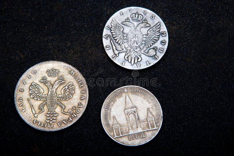 Stary Menniczy pieniądze rosjanina srebra złoto retro zdjęcie stock