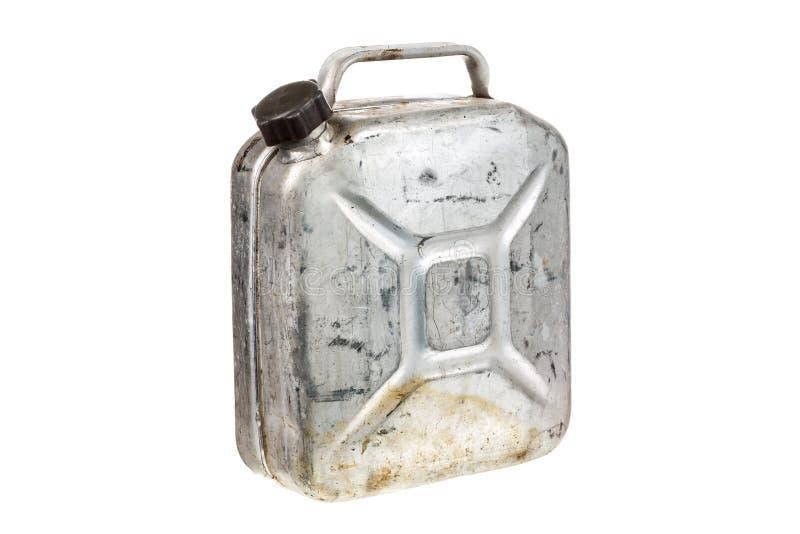 Stary metal benzyny lub jerrycan kanisteru paliwo może odosobniony na białym tle zdjęcie stock