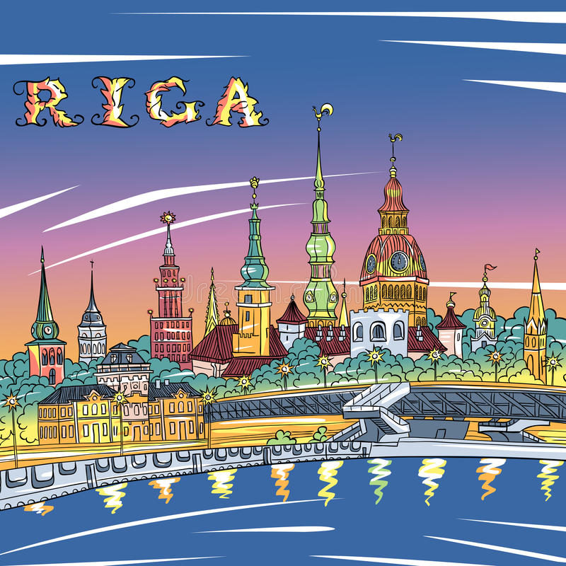 Stary miasteczka i rzeki Daugava przy nocą, Ryską, Latvia ilustracja wektor