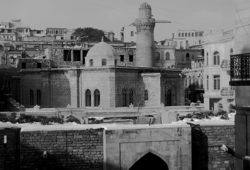 Stary miasteczko Baku Azerbejdżan w czerni obrazy royalty free