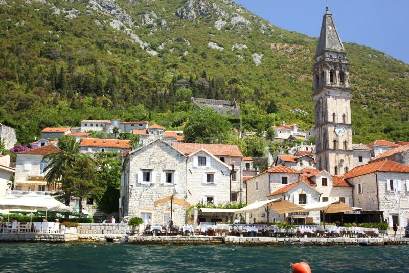 Stary miasteczko krajobraz, Perast, Kotor zatoka, Montenegro obraz stock