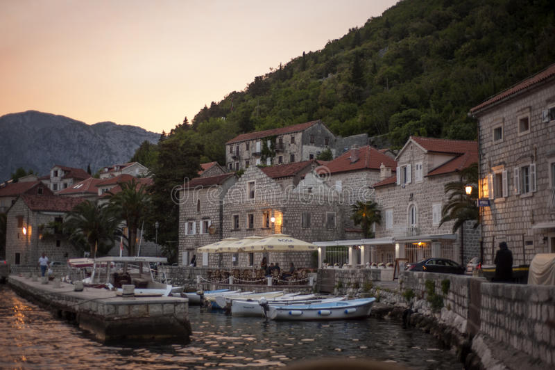 Stary miasteczko krajobraz, Perast, Kotor zatoka, Montenegro obraz royalty free
