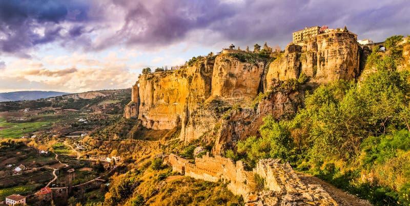 Stary miasteczko Ronda przy zmierzchem, Malaga, Andalusia, Hiszpania fotografia royalty free