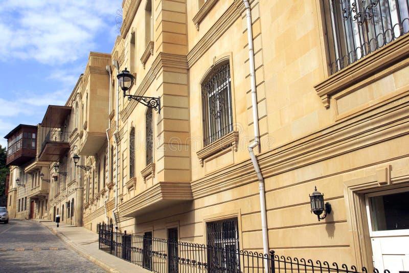 Stary miasteczko w Baku z historycznymi budynkami obrazy stock