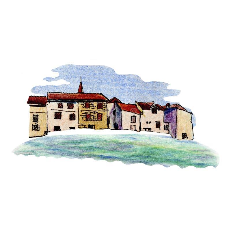 Stary miasteczko w Chorwacja w nakreślenie stylu i odizolowywającym na białym tle, kolorowy ołówek zdjęcia stock