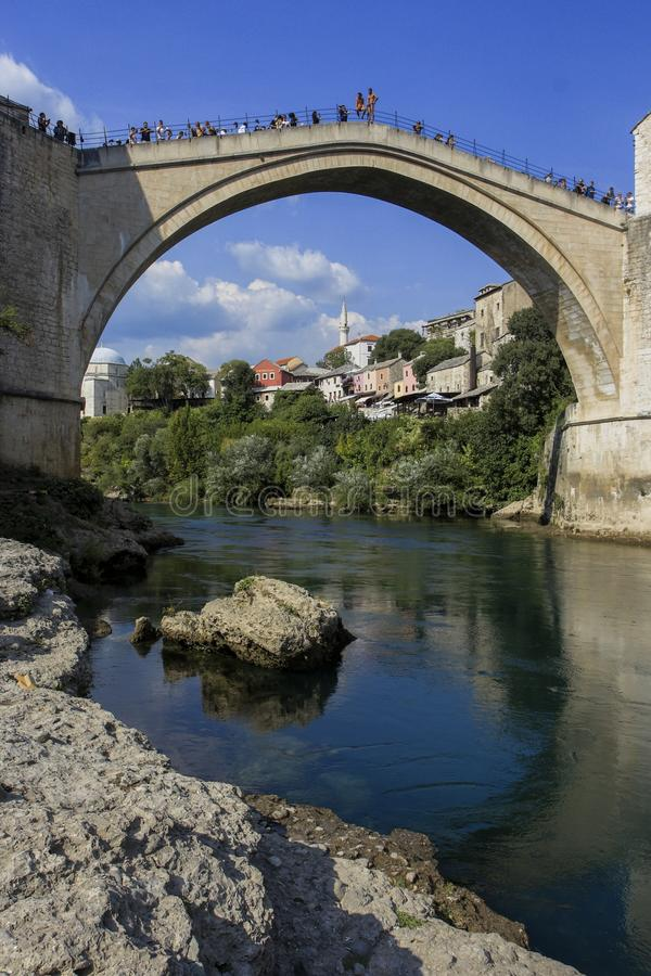 Stary miasto atmosfery Mostar most zdjęcia stock