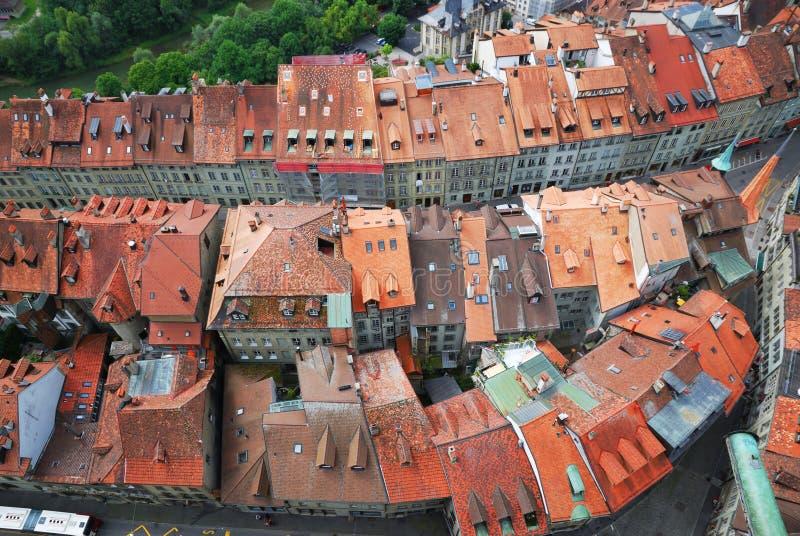 Stary miasto Fribourg od above. zdjęcie royalty free