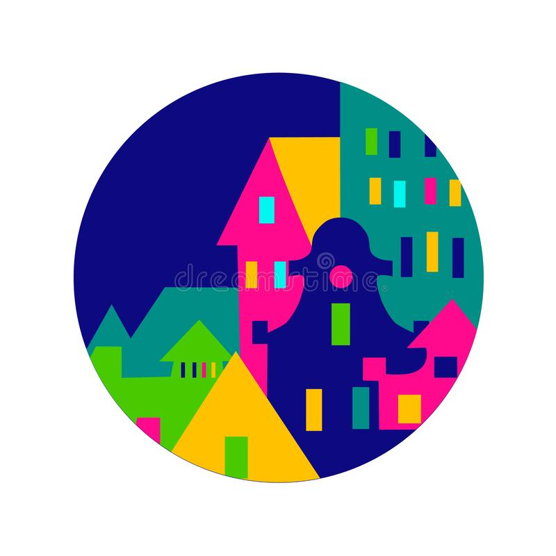 Stary miasto logo, architektury kolorfull sztandar royalty ilustracja