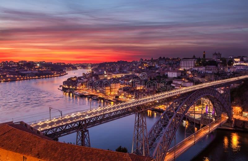 Stary miasto Porto przy zmierzchem obrazy stock