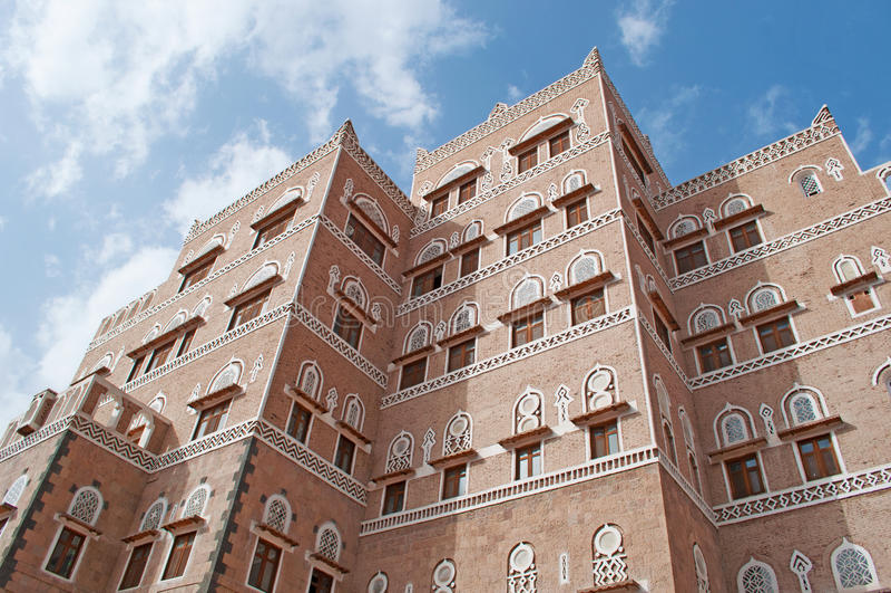 Stary miasto Sana'a, dekorujący dom, pałac, Jemen fotografia royalty free