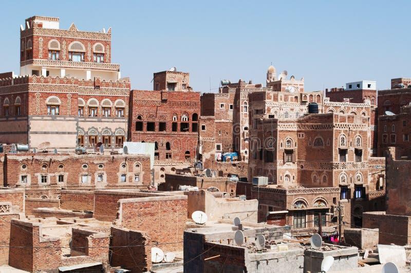 Stary miasto Sana'a, dekorujący domy i pałac, Jemen obraz royalty free
