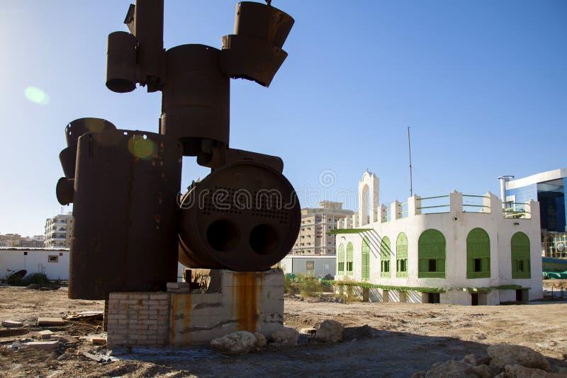 Stary miasto w Jeddah, Arabia Saudyjska znać jako ` Jeddah Dziejowy ` Stary i dziedzictwo Kościelny budynek i drogi w Jeddah zgad zdjęcie royalty free